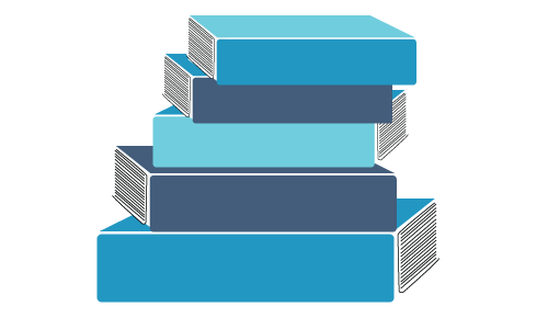 drawing of a stack of log books